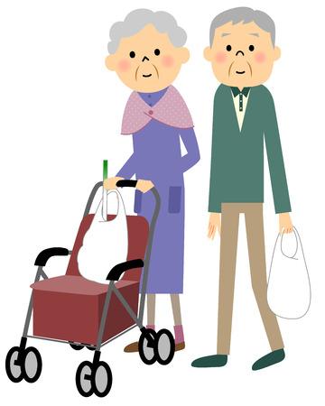 ショッピング帰りの老夫婦  イラスト・ベクター素材