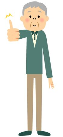 found it: Senior citizen, Thumbs up Illustration