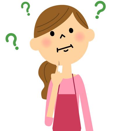 질문을 보유하고있는 앞치마의 여성