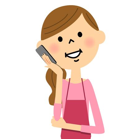 daughter cells: The female of the apron to talk on a mobile phone
