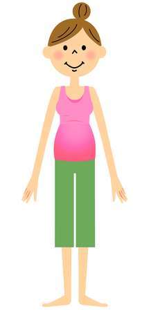 breathing exercise: Pregnant woman wearing a sportswear Illustration