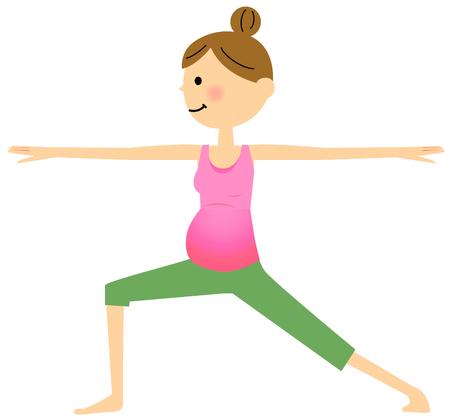 妊娠中の女性は、ヨガを行う  イラスト・ベクター素材