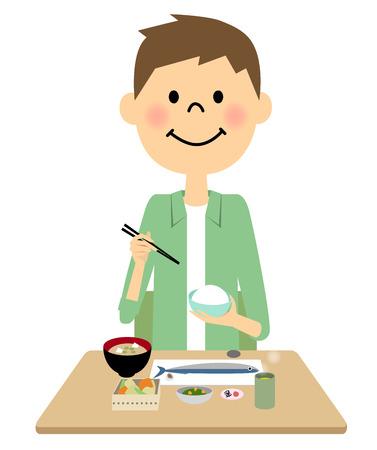 side dish: Man having a meal Illustration