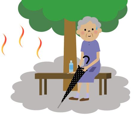 bench alone: The senior citizen resting under the tree Illustration