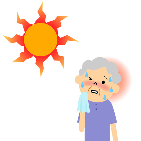 The senior citizen standing under the hot sun