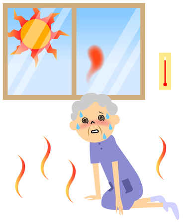 hot summer: Senior citizen sweating on a hot day