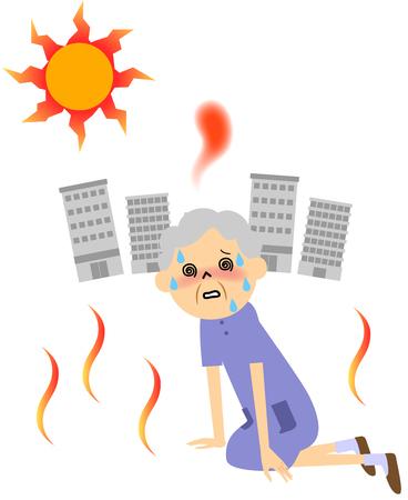 더운 날에 땀을 흘리는 노인