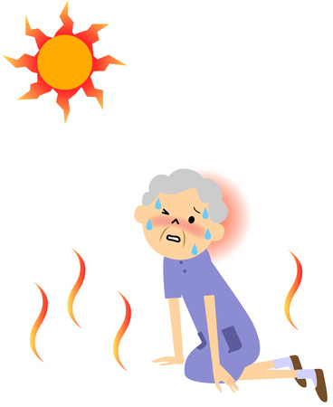 The senior citizen sweating on a hot day