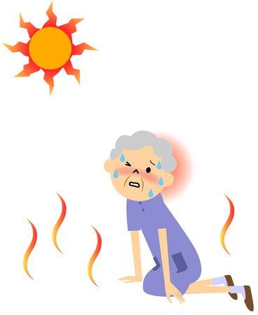 La personne âgée transpiration sur une chaude journée