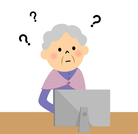 using computer: The elderly using  computer