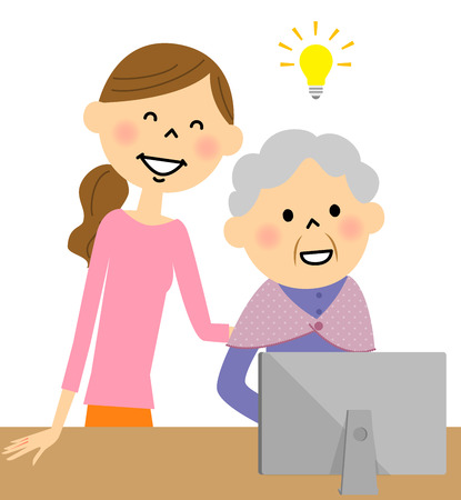 old pc: Woman   teaching elder woman to use   computer