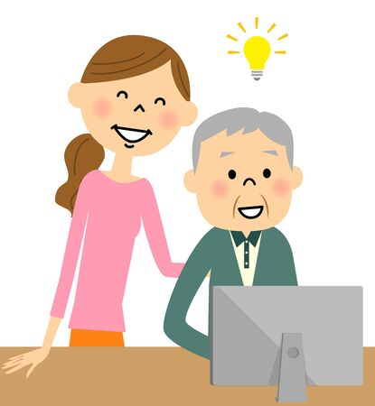 old pc: Woman   teaching elder man to use   computer Illustration