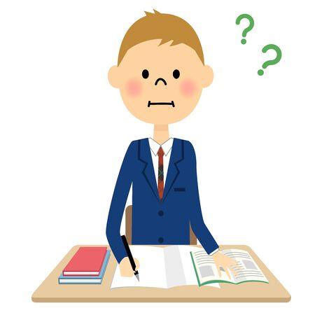 schoolkid: boy studying Illustration
