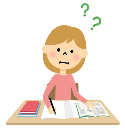 wonders: girl studying Illustration