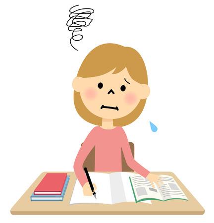 girl studying  イラスト・ベクター素材