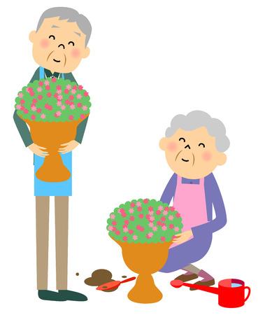 asian gardening: Elderly couple   gardening