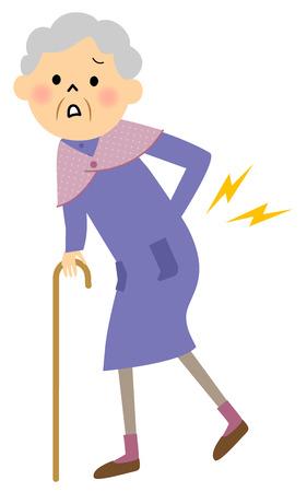 Grandmother of low back pain Stock Illustratie