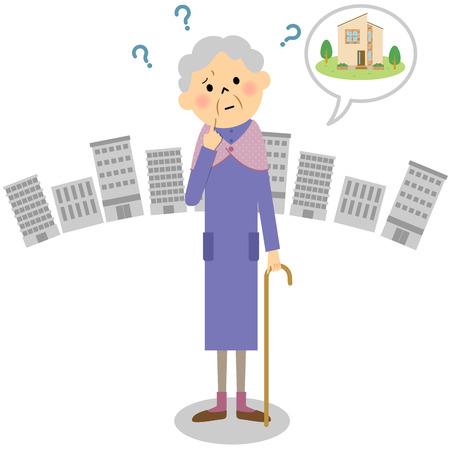 Lost grandmother Stock Illustratie