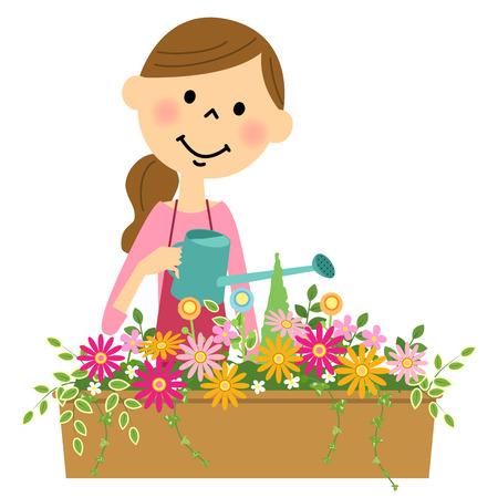 Blumen im Wasser tun, um Frauen