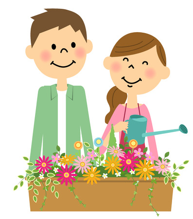 household chores: Flowers in the water doing a young couple Illustration