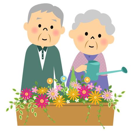 Fleurs dans l'eau font un couple de personnes âgées