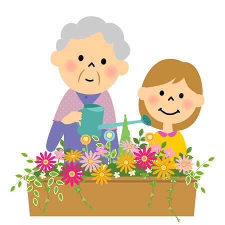 foster parenting: Flowers in the water doing a senior and grandchild