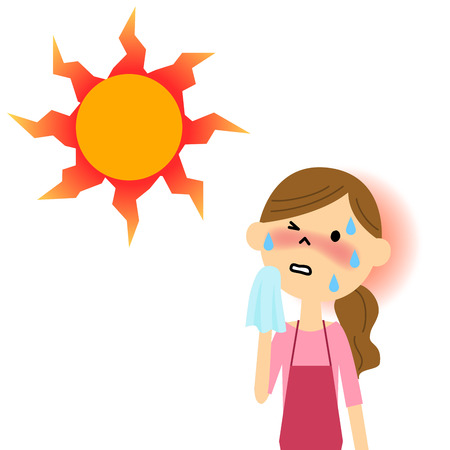 exhaustion: The lady who seems to have heat exhaustion Illustration