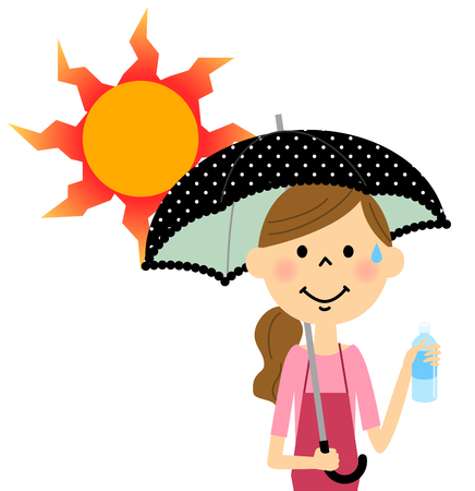 caregivers: The lady who takes a heat exhaustion measure Illustration