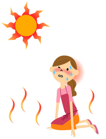 The lady who seems to have heat exhaustion Illustration