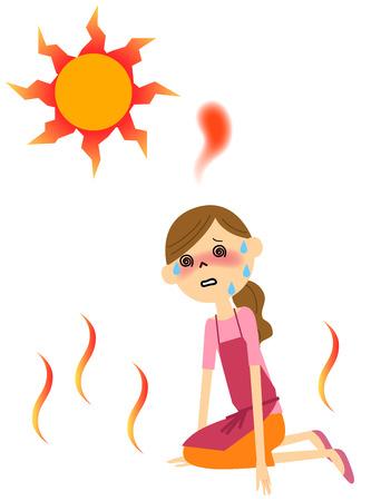 La hembra con el agotamiento por calor Ilustración de vector