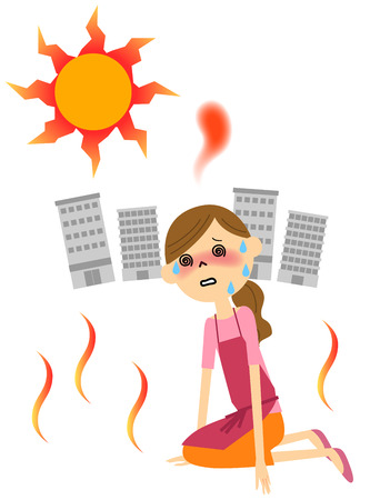 exhaustion: The female with heat exhaustion