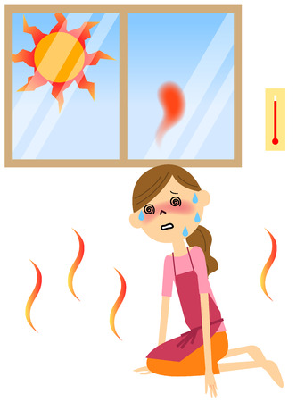 The female with heat exhaustion Stock Vector - 61625102