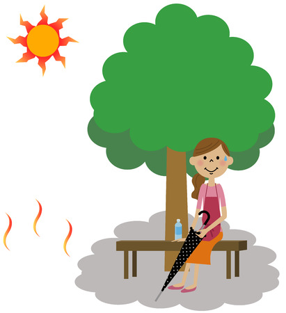 exhaustion: The lady who takes a heat exhaustion measure Illustration