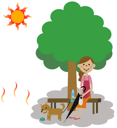 The lady who takes a heat exhaustion measure Illustration