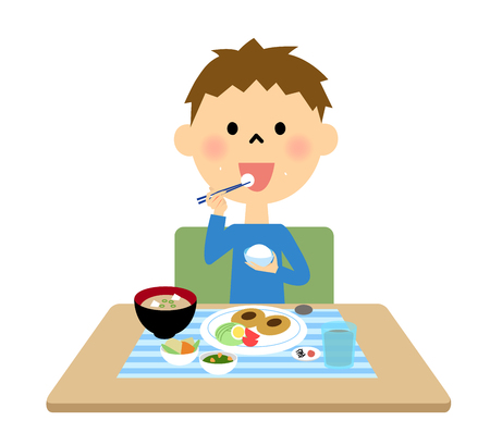 rice wine: Boy  eating meal
