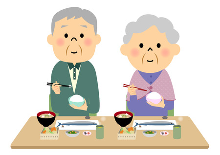 食事高齢者カップル  イラスト・ベクター素材