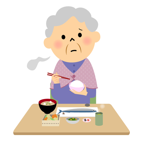 The senior citizen eating a meal 矢量图像