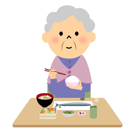 woman middle age: The senior citizen eating a meal Illustration