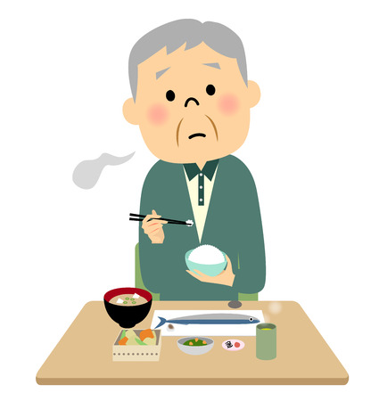 rice wine: The senior citizen eating a meal Illustration