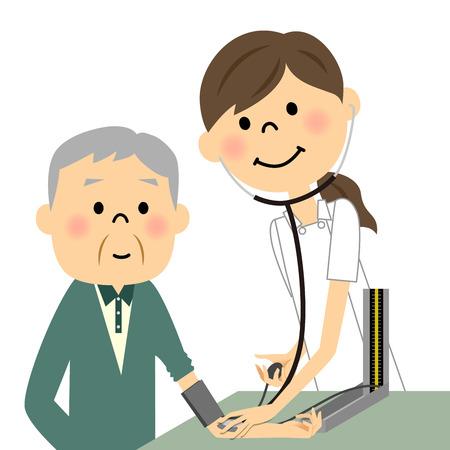 Krankenschwestern und ältere Menschen, die Blutdruckmessung