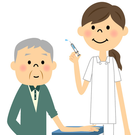 healthcare workers: Nurses and the elderly, injection