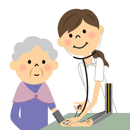 nursing clothes: Nurses and the elderly, blood pressure measurement