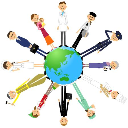 people: The people who work and the earth Illustration