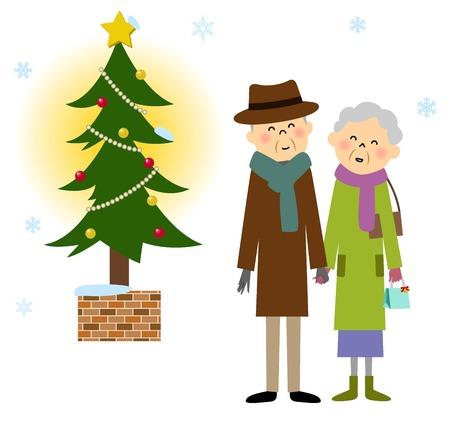 Elderly couple, Christmas Illustration