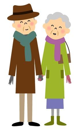 老夫婦は、ショッピング  イラスト・ベクター素材