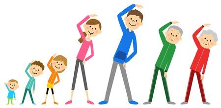 Family to prepare exercise Illustration