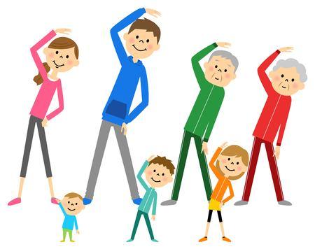 Family to prepare exercise Stock Illustratie