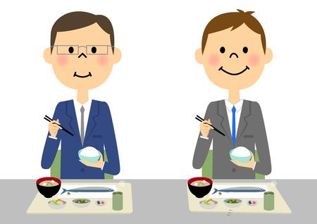side dish: Businessman eating Illustration