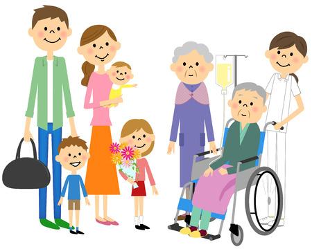高齢者と共感の車椅子に座るようになった家族  イラスト・ベクター素材