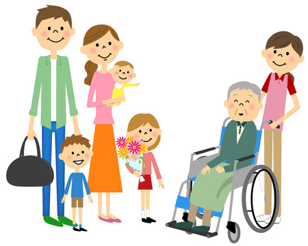 husband and wife: Family came to see me and sit in a wheelchair for the elderly Illustration